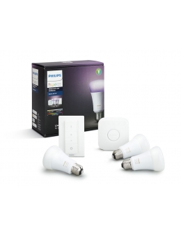 Philips Hue White and Color Ambiance startkit (3 Glödlampor, 1 dimmer switch och 1 Bridge), 10W, A60, E27